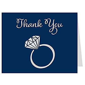 thank you cards engagement bridal shower wedding diamond ring 50 printed - Engagement Thank You Cards