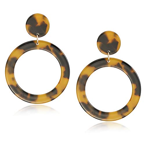 Bohemian Drop Hoop Earrings for Women Fashion Acrylic Statement Resin Dangles Lightweight Earrings ()