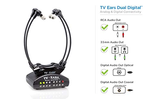 TV Ears Dual Digital Wireless Headset System, Use 2 headsets at same time, connects to both Digital and Analog TVs, TV Hearing Aid Device for Seniors and Hard of ()