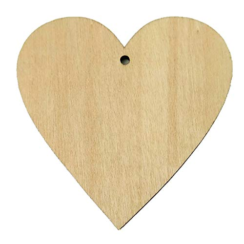 Wood Hearts, Natural Unfinished Wood Heart Cutout Shape,Hole (25 Pieces)
