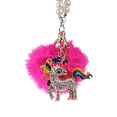MINI-FACTORY Car Interior Hanging Ornament, Crystal Diamond Fairy/Unicorn/Luxury Pearl Star Rearview Mirror Hanging Bling Charm Girly Decoration for Car/Home/Office (Unicorn): Automotive
