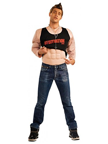 Jersey Shore The Situation Deluxe Molded Muscle Flesh Shirt With Tattoos, Tan, Medium Costume