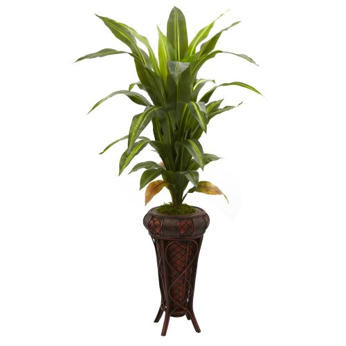(Nearly Natural 6671 Real Touch Dracaena with Stand Silk Plant, 57-Inch, Green)
