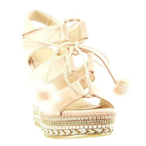 Angkorly - Scarpe da Moda sandali Espadrillas zeppe aperto donna perla intrecciato pon pon Tacco zeppa piattaforma 13 CM - Rosa
