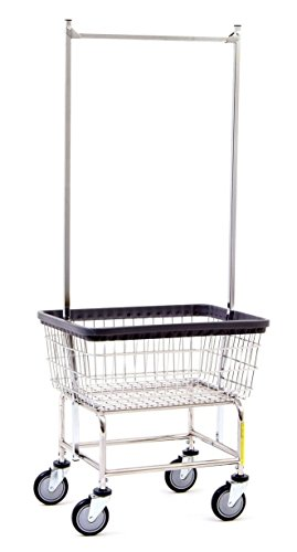 R & B Wire 100E58 Laundry Cart with Double Pole Rack