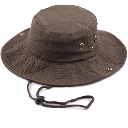 - THE HAT DEPOT 300N1510 Wide Brim Foldable Double-Sided Outdoor Boonie Bucket Hat (L/XL, Darkbrown)