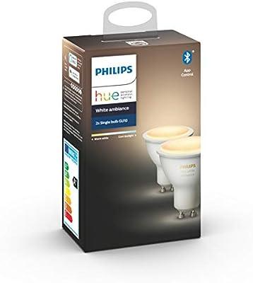 Philips Hue White Ambiance Pack 2 Bombillas LED Inteligentes GU10, Compatible con Bluetooth y Zigbee, (Puente Hue Opcional), Funciona con Alexa y ...
