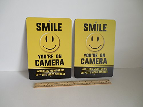 2 Smile You're On Camera Video Surveillance Security Metal Yard Signs Stock # 722