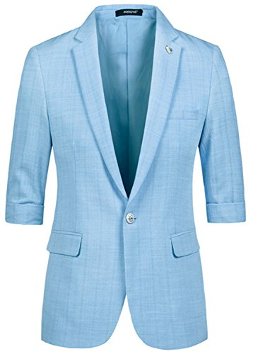NeeKer Jacket Male Half Short Sleeve Slim Fit Thin Blazer Men's Prom Stage Wear Casual Suits Jacket Men Groom Wedding Dress Blue XL