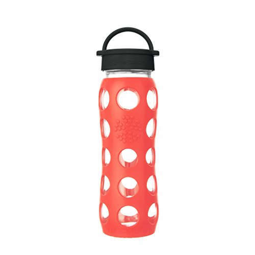 Lifefactory 22-Ounce BPA-Free Glass Water Bottle with Classic Cap and Protective Silicone Sleeve, Poppy