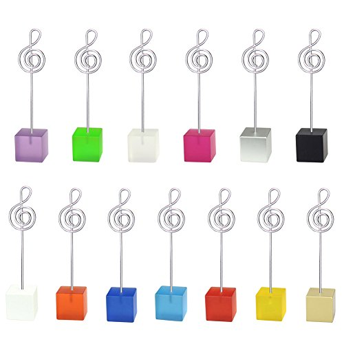 Mike Home Cube Base Table Number Card Holders Memo Holder Note Clip Photo Holder Stands for Weddings Party Random Color 13 Pcs (Music Note -