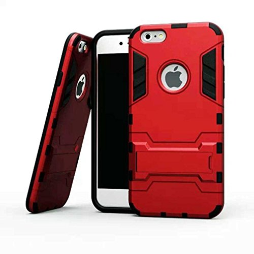 """AOFad Rouge Coque Pour iPhone 6 Plus,[5.5""""], Béquille Vidéo, Protection des lourds Plastique TPU 2 à 1 Série TE830"""