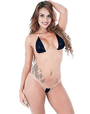 Luccy K Women's Lingerie Metallic Adjustable Tie Side Low Rise Bikini Set
