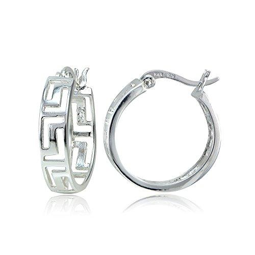 Sterling Silver Greek Key 20mm Round Hoop Earrings