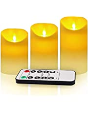 """3 Pack Flickering Flameless Candles with Remote Control, 4"""" 5"""" 6"""" Battery Operated LED Pillar Candle Set, 2/4/6/8 Hours Timer, 2 AA Batteries NOT Included"""