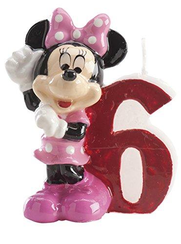 dekora 346152 Vela de Cumpleaños Minnie Mouse Numero 6, Cera, Multicolor, 6.5