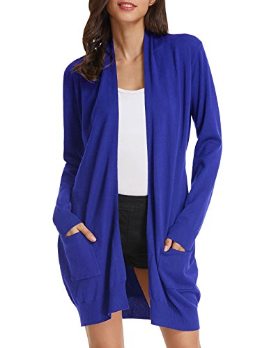 Women's Long Sleeve Draped Open Front Cardigan for Office (2XL,Royal Blue)]()