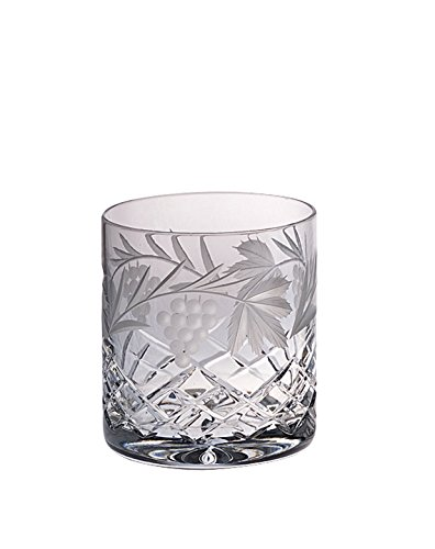 Barski - Hand Cut - Mouth Blown - Crystal - D.O.F - Tumbler - With Grapevine Design - Set of 4 - 14oz. - Made in Europe