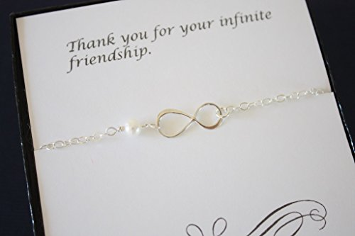 Sterling Silver Best Friend Infinity Bracelet, Friendship, Bridesmaid Gift