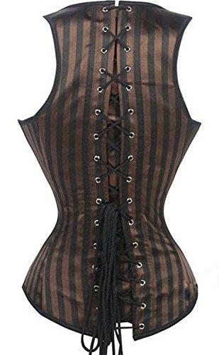 Kiwi-rata dama burlesque gótico bustier corsé con G-string Marrón