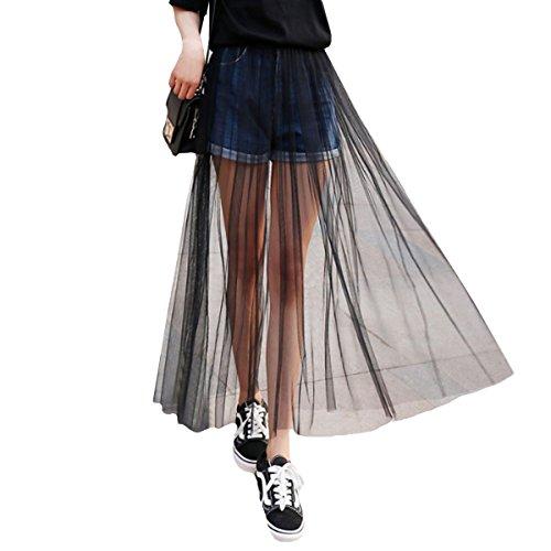 Rebecca Women Casual High Waist Mesh Maxi Skirt Summer Gauzy Wrap Skirts with Elastic Waist (Black)