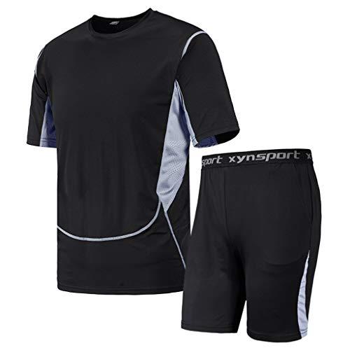 Kaister Men's Short Sleeve Jumpsuit Overalls Casual Fitness Quick Drying Elastic Short Sleeve Short Pants Sports Suit Black
