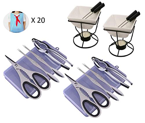 (Lotsa Style Seafood Crab Lobster Utensils Tool Set: 2 Strong Scissors, 2 Lobster Crackers, 4 Crab Forks, 2 Containers, 2 Ceramic Butter Warmers, 4 Dipping Forks, 2 Tea Lights & 20 Plastic Adult Bibs)