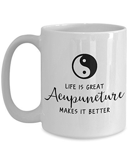 Acupuncture Coffee Mug, Best Funny Unique Chiropractic Tea Cup Perfect Gift Idea For Men Women - Life is great, Acupuncture makes it -