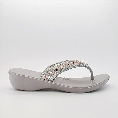 l'arrière London Footwear Argent à femme Argent Ouvertes qqtS4wRF