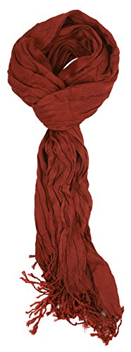Love Lakeside-Women's Must Have Solid Color Crinkle Scarf (One, Rust - Scarf Viscose Brown