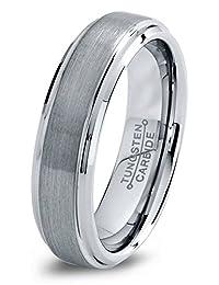 Tungsten Wedding Band Ring 6mm for Men Women Comfort Fit Beveled Edge Brushed Lifetime Guarantee