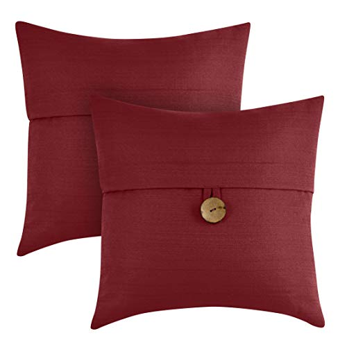 """Better Homes & Gardens Feather Filled Banded Button Decorative Throw Pillow, 20"""" x 20"""", Red, 2 Pack from Better Homes & Gardens"""