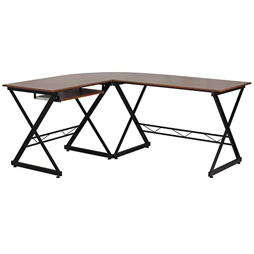 (Flash Furniture Teakwood Laminate L-Shape Computer Desk with Pull-Out Keyboard Tray)