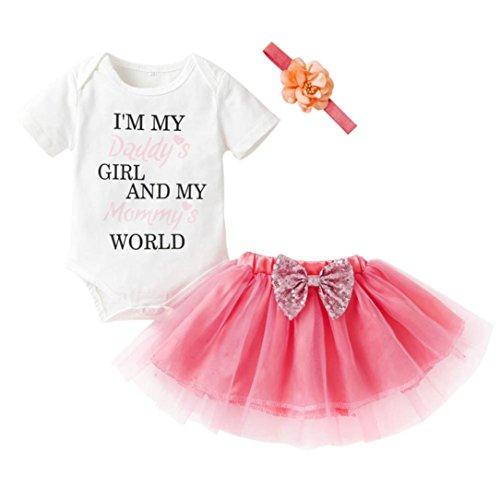 Baby Outfits Newborn Baby Girl Summer Outfit Romper Tops+Tutu Skirt+Headband 3Pcs/Set (White, 12M)