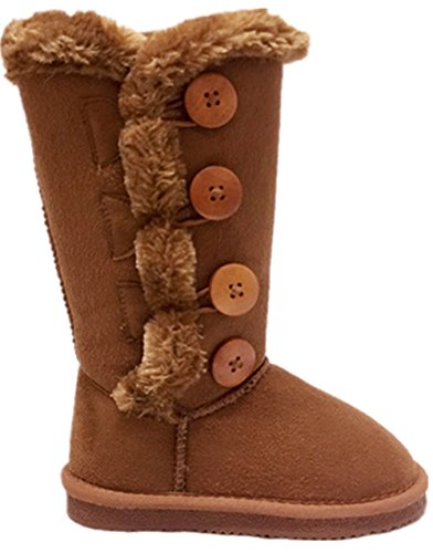 Girl's kids Lovely 4-Buttons Fur-Lined Snow Warm Winter K...