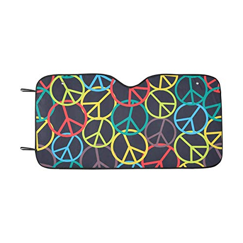 - INTERESTPRINT Colorful Peace Sign Front Windshield Sun Shades, Accordion Folding Auto Sunshades for Car Truck SUV