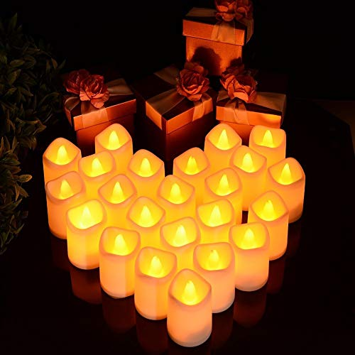Litake Flameless LED Tea Light Candles Battery Operated Flickering Fake Candles, 24 Pack Unscented Tealights, Romantic Candles for Christmas Decoration
