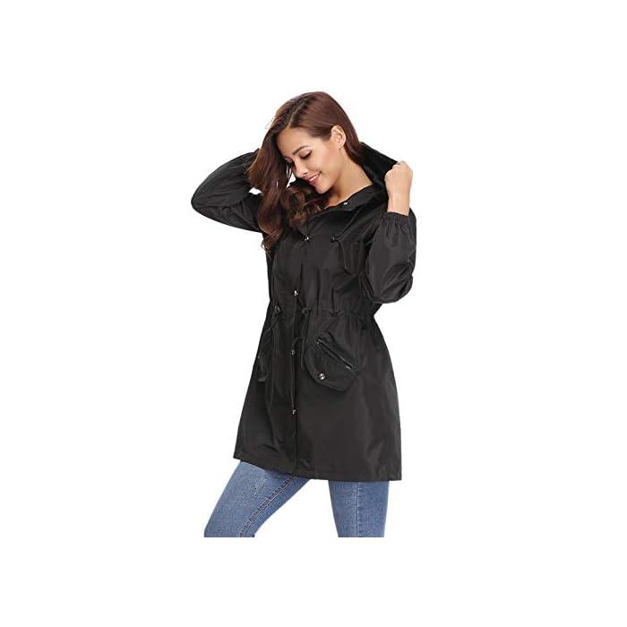 41fAxjVH RL Multifunción Cortavientos de mujer:Anorak Mujer,característica con material impermeable y secado rápido, Puede ser resistente al viento, a la lluvia y a la nieve, cálido y hermético,también proporciona protección solar.Más es Transpirable, Skin-touch, Cómodo y cálido. Abrigo Impermeable para mujer :Es una chaqueta fina y muy impermeable, es ajustable a la cintura lo que hace que quede se ajuste al cuerpo todo lo que se quiera.Chubasquero Deporte Encapuchado Dobladillo de la gabardina está ajustado para mantenerlo caliente y resistente al viento. 100% Poliéster
