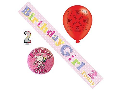 2nd Birthday Girl Party Pack Banner, Balloons, Number Candle, Mega Badge by Cards Galore