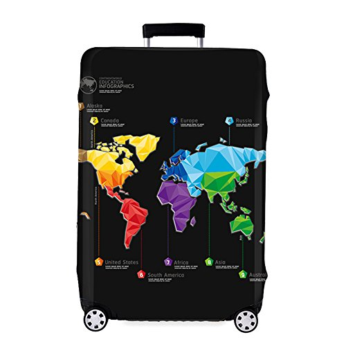 Youth Union Travel Luggage Cover Fit for 18-32 Inch Luggage (L(25-28 inch luggage), Map)