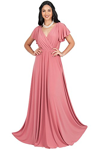 KOH KOH Plus Size Womens Long V-Neck Sleeveless Flowy Prom Evening Wedding Party Guest Bridesmaid Bridal Formal Cocktail Summer Floor-Length Gown Gowns Maxi Dress Dresses, Cinnamon Rose Pink XL 14-16
