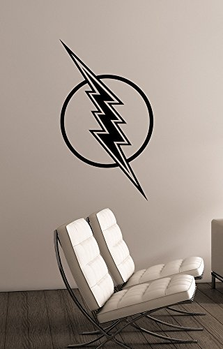 Flash Logo Vinyl Decal Wall Sticker Avengers DC Comics Superhero Art Decorations for Home Playroom Bedroom Teen Kids Boys Room Decor flh6