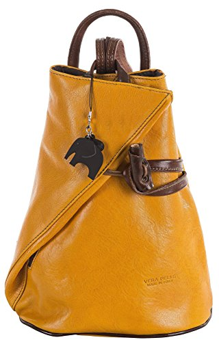 Womens Leather Hand Made Convertible Strap Backpack Shoulder Handbag - Made in Italy with a Branded Protective Storage Bag and Charm (Yellow BrownT) by Big Handbag Shop