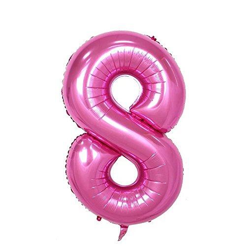Ruimeier Number 8 Balloon (40 inch) Pink Party Balloons Aluminum Mylar Balloon for Birthday Decorations Wedding Anniversary Baby Bridal Shower BA08PK
