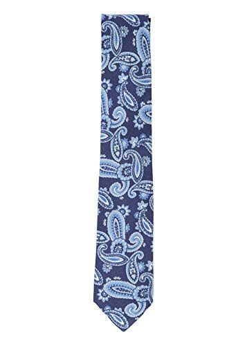 Isaia Mens Navy Blue Silk Cotton Blend Paisley Pattern Classic Tie~RTL$275 ()