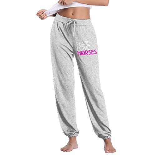 Women's Jogger Sweatpants Peace Love Horses Active Yoga Lounge Relaxed Fit Casual Pants with Pockets Workout Training Running
