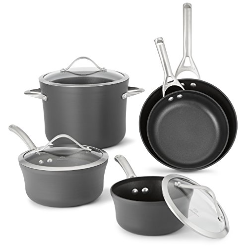 Calphalon 1876784  Contemporary Hard-Anodized Aluminum Nonstick Cookware, Set, 8-Piece, - Sauce Anodized Pan Aluminum Aluminum
