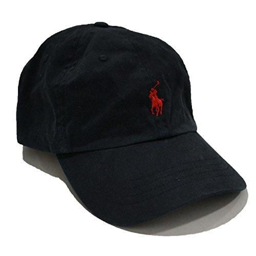 Ralph Lauren Mens Pony Logo Hat Cap Black/Red ()