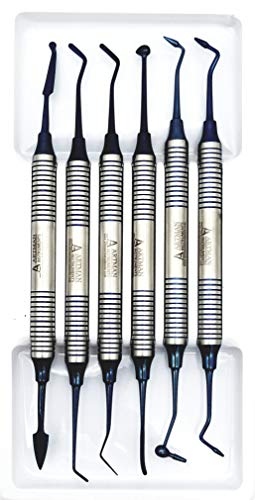 Dental Composite NON STICK filling Instruments Kit (6 PCS BLUE) glass ionomer by Wise Linkers