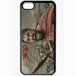Personalized iPhone 5C Cell phone Case/Cover Skin 300 gerard butler king leonidas sword cry war Movies Black